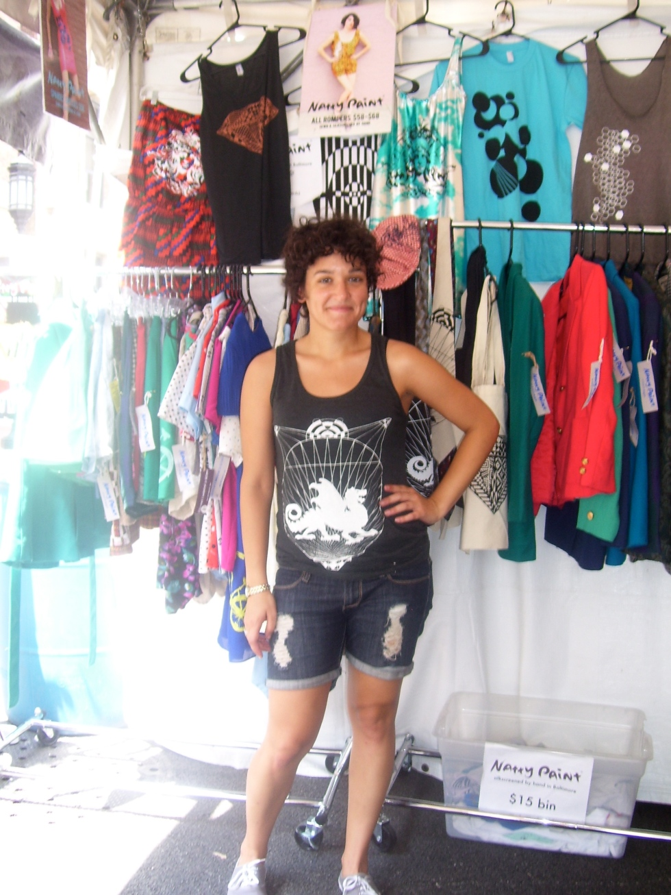 Emily Li Mandri rockin' Natty Paint in her booth at Artscape.