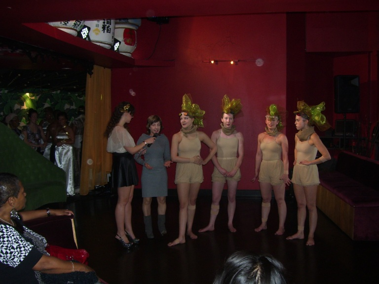 The dancers of Deviated Theatre getting interviewed at Raw Awards 2013. (Photo by Paulette W).