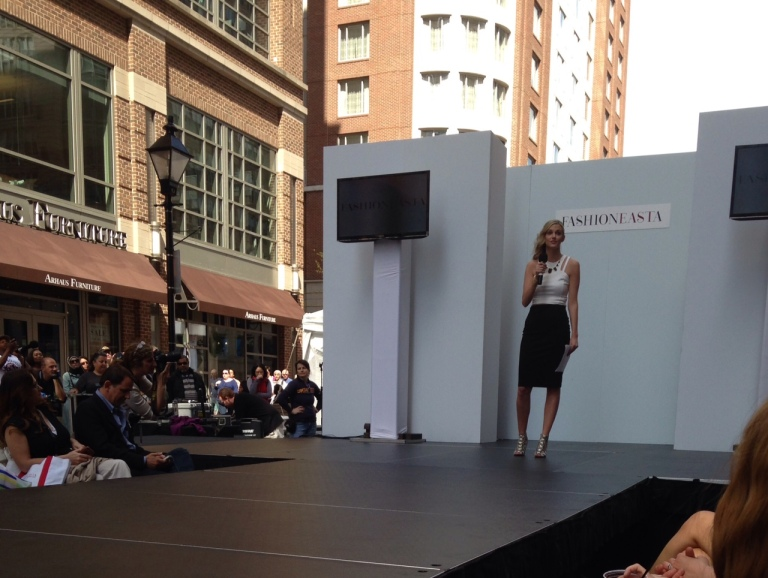 Host of fashion show, Shelly May of Baltimore Magazine